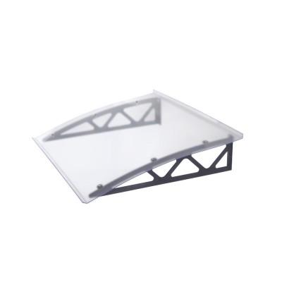 Pensilina Industry in policarbonato compatto trasparente con braccia grigie in metallo 80x120x16 cm