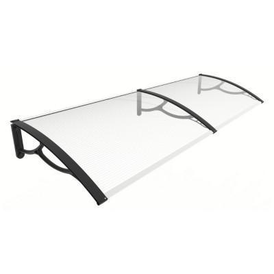 Pensilina Eco Maxi con braccia nere e lastra in policarbonato alveolare trasparente, 200x80x28 cm