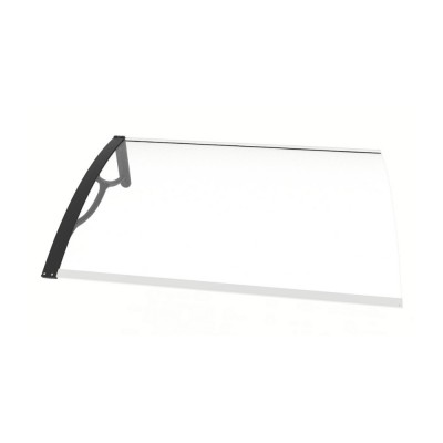 Pensilina Elite Kit con braccia nere e policarbonato compatto trasparente, 100x80x28 cm