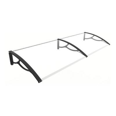 Pensilina Elite 200 con braccia nere e lastra in policarbonato compatto trasparente, 200x80x28 cm
