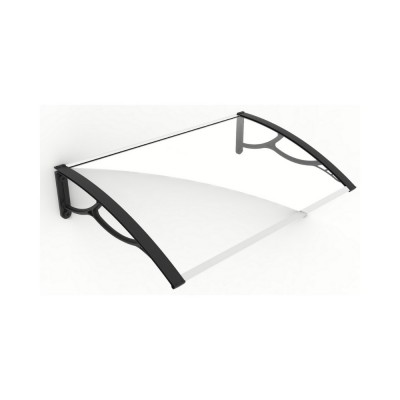 Pensilina Elite 120 con braccia nere e lastra in policarbonato compatto trasparente, 120x80x28 cm