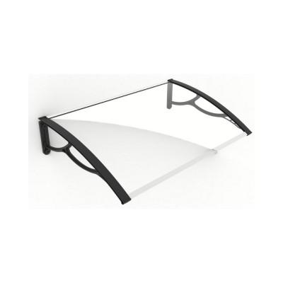 Pensilina Elite 100 con braccia nere e lastra in policarbonato compatto trasparente, 100x80x28 cm