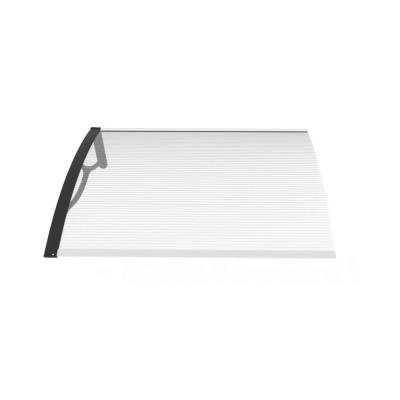 Pensilina Eco Kit con braccia nere e lastra in policarbonato alveolare trasparente, 100x80x28 cm