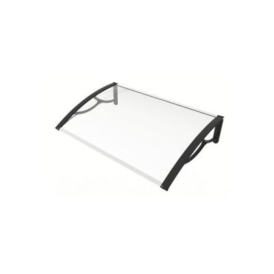 Pensilina Eco Large 120 con braccia nere e lastra trasparente, 120x80x28 cm