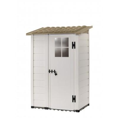 Casetta da Giardino in Resina Tuscany Evo 100 dec con 1 porta decentrata e Pavimentazione inclusa, colore Beige, 95x139x201h cm