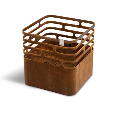 CUBE Rusty fire basket, grill and stool, include cooking grate and bamboo board