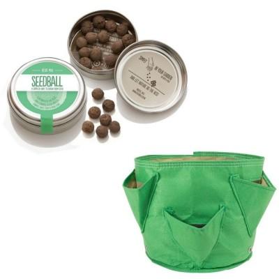"""Originale kit regalo con 1 Seedball """"Erbe Aromatiche"""" e 1 vaso in tessuto Bloembagz verde con sei tasche"""
