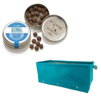 """Grazioso kit regalo con 1 Seedball """"Miscela Prato Cielo"""" e 1 fioriera in tessuto Bloembagz azzurra"""