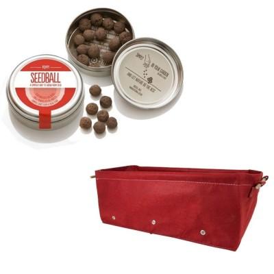 """Grazioso kit regalo con 1 Seedball """"Papavero"""" e 1 fioriera in tessuto Bloembagz rossa"""