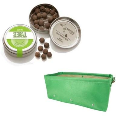 """Grazioso kit regalo con 1 Seedball """"Miscela Insalata"""" e 1 fioriera in tessuto Bloembagz verde"""