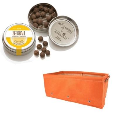 """Simpatico kit regalo con 1 Seedball """"Miscela Api"""" e 1 fioriera in tessuto arancione Bloembagz arancione"""