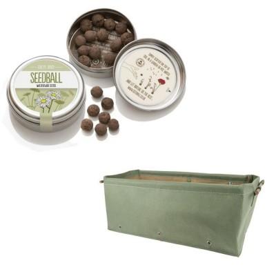 """Simpatico kit regalo con 1 Seedball """"Margherita"""" e 1 fioriera in tessuto Bloembagz verdina"""