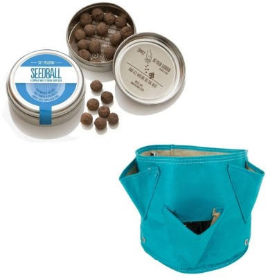 """Originale kit regalo con 1 Seedball """"Miscela Prato Cielo"""" e 1 vaso in tessuto Bloembagz azzurro con sei tasche"""