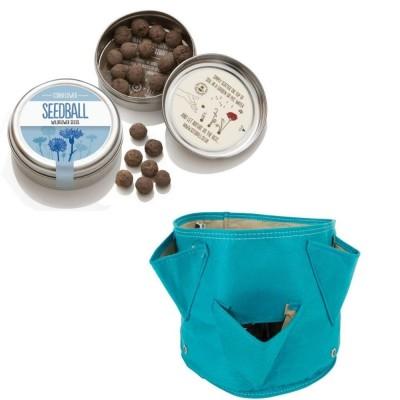 """Originale kit regalo con 1 Seedball """"Fiordaliso"""" e 1 vaso in tessuto Bloembagz azzurro con sei tasche"""