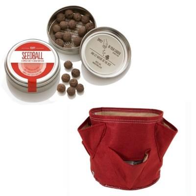"""Originale kit regalo con 1 Seedball """"Papavero"""" e 1 vaso in tessuto Bloembagz rosso con sei tasche"""