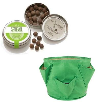 """Simpatico kit regalo con 1 Seedball """"Miscela Insalata"""" e 1 vaso in tessuto Bloembagz verde con sei tasche"""
