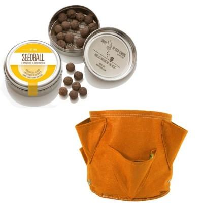 """Simpatico kit regalo con 1 Seedball """"Miscela Api"""" e 1 vaso in tessuto Bloembagz arancione con sei tasche"""