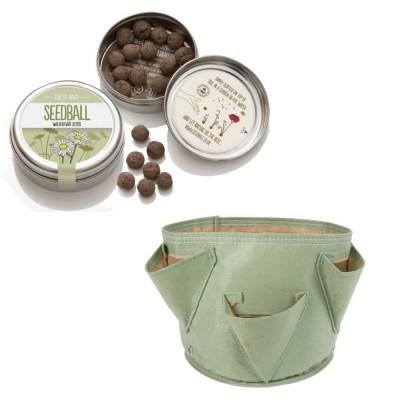 """Grazioso kit regalo con 1 Seedball """"Margherita"""" e 1 vaso in tessuto Bloembagz verdino con sei tasche"""