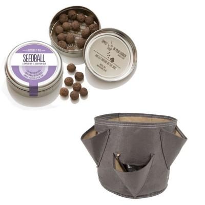 """Originale kit regalo con 1 Seedball """"Miscela Farfalla"""" e 1 vaso in tessuto Bloembagz beige con sei tasche"""