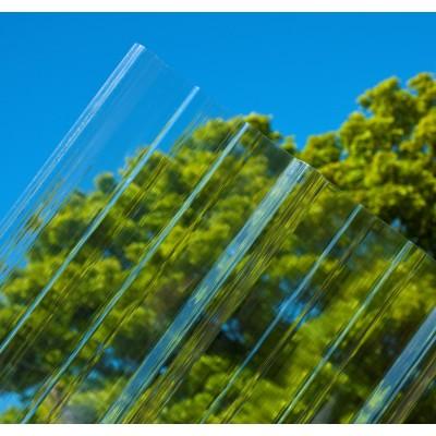 Lastra corrugata in policarbonato tipo greca 76/18 spessore 0,8 mm dimensione 120 x 200 cm Trasparente