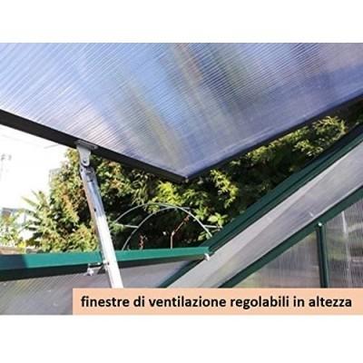 Serra Gran Torino in Alluminio e policarbonato alveolare da 6mm. Base Inclusa. Dimensioni 250 x 430 cm