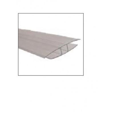 Profilo a H, 6 mm, lunghezza 2 metri in policarbonato trasparente
