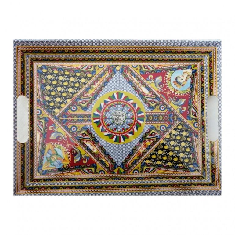 Vassoio Tray con Manici Santa Rosalia in Melamina 49 x 36 cm