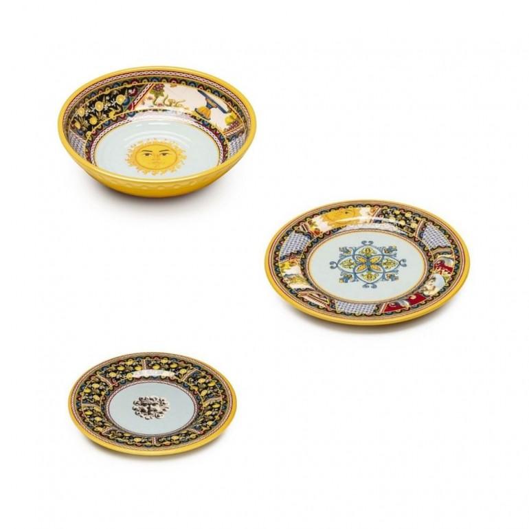 Set piatti completo 18 pezzi in melamina Santa Rosalia (6 piatti fondi + 6 piatti piani + 6 piatti dolce)