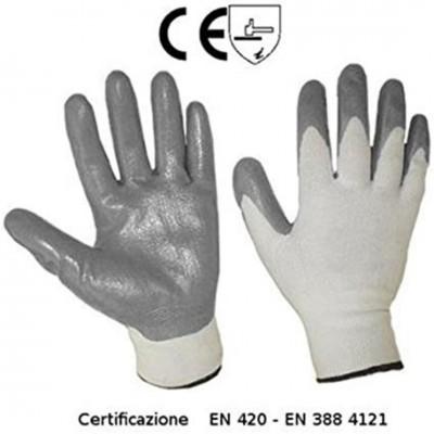 Set di 10 guanti da lavoro SEBA 500NBR ECO: Nylon spalmato in nitrile grigio certificato per il rischio meccanico
