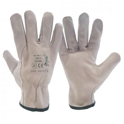 Set di 10 Guanti da lavoro Seba 8CE2: in pelle tutto fiore colore bianco certificati per il rischio meccanico