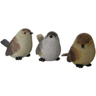 Statua da giardino a forma di set 3 uccellini in poliresina