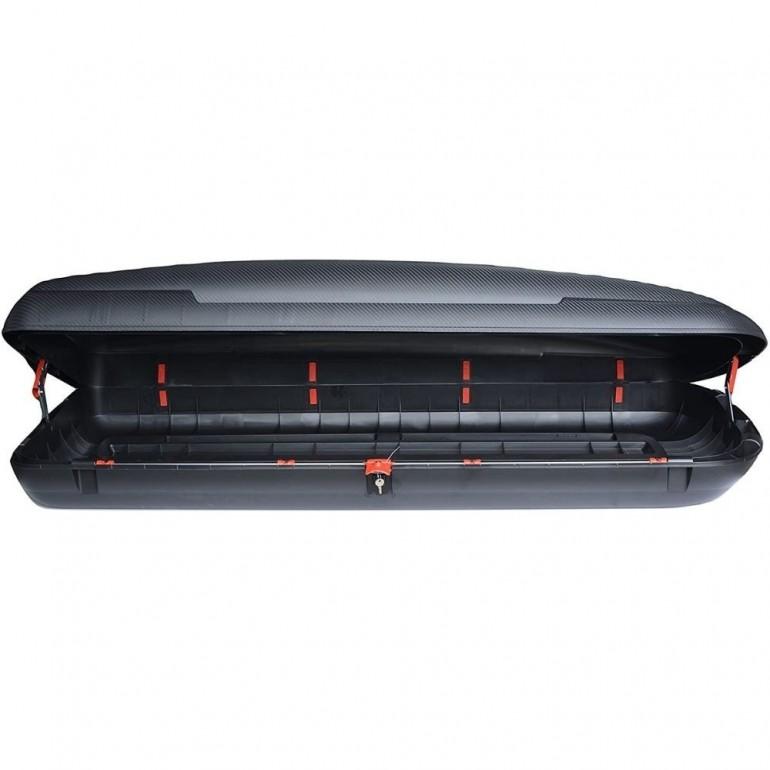 Box Baule per tetto auto in polipropilene finitura carbonio, capacità 480 lt, mm 2005x790x380
