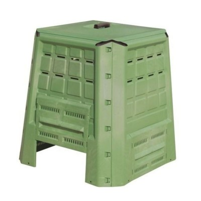 Bio composter da 380lt in plastica verde, produzione domestica di fertilizzante naturale per orto, giardino e vasi.