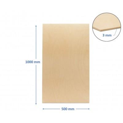 pannello compensato 3 mm betulla baltica misura 500 x 1000 mm