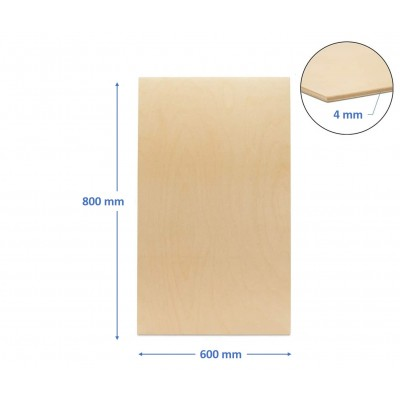 pannello compensato 4 mm pioppo misura 600 x 800 mm