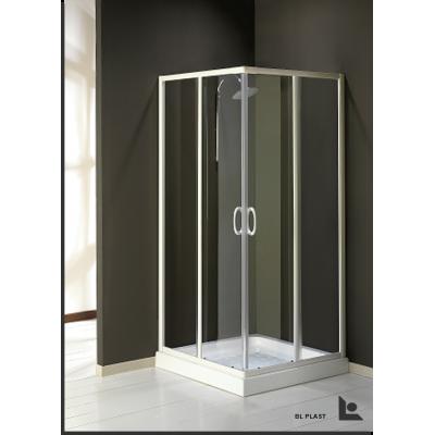 Box Doccia Avana in cristallo temperato, profili cromati. Abbinabile a parete fissa. dimensione 80x80 H 185 cm