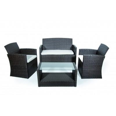 Salotto da giardino Set Lipari 2 poltrone tavolo con vetro temperato divano 2 posti