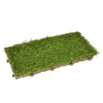 Confezione da 24 pezzi Greenplate piastrella modulare in plastica con erba sintetica 37,7 x 18,6 cm per coprire 1,75 m2