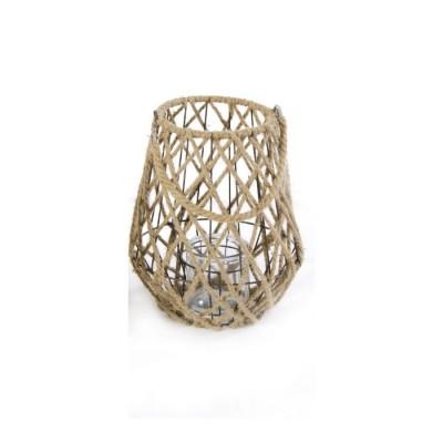 Lanterna in Metallo e Corda BRASILIA, con porta candele in Vetro, misura L