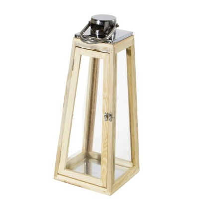Lanterna in Legno e Acciaio JAIPUR, misura L