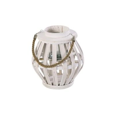 Lanterna in Legno e Corda PALMAS, con vasetto interno, colore BIANCO