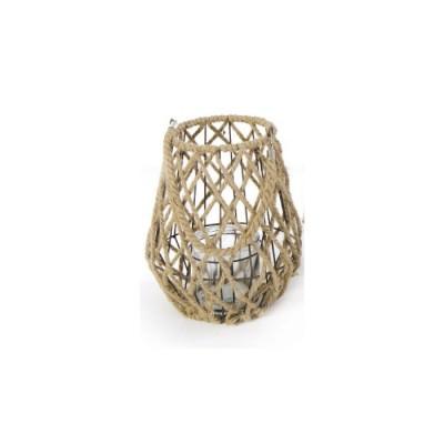 Lanterna in Metallo e Corda BRASILIA, con porta candele in Vetro, misura M