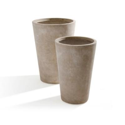 Set di 2 Vasi in Argilla mista Fibra di Vetro MAXIME, colore BEIGE