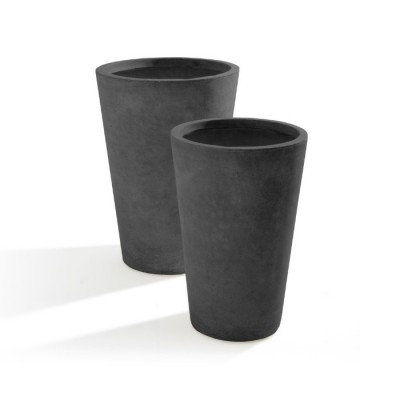Set di 2 Vasi in Argilla mista Fibra di Vetro MAXIME, coloreGRIGIO