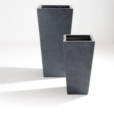 Set di 2 Vasi in Argilla mista Fibra di Vetro RAPHAEL, colore GRIGIO