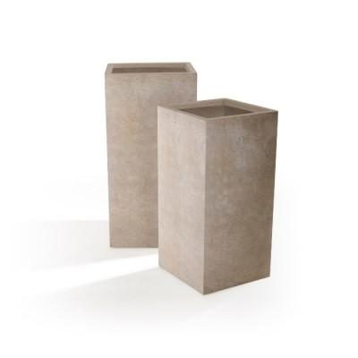 Set di 2 Vasi in Argilla mista Fibra di Vetro ROQUEBRUNE, colore BEIGE