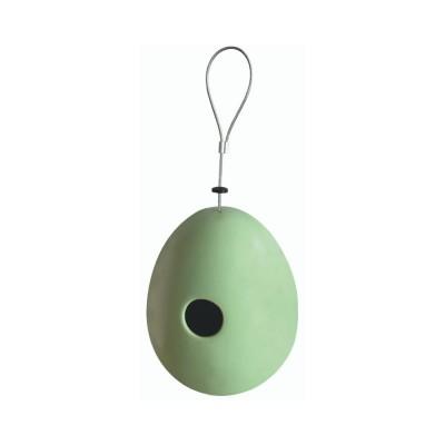 Casetta per Uccellini da appendere, in Ceramica, con Gancio in metallo